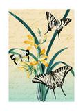 Butterfly Botanical Yellow Flowers Collage Láminas por  Piddix