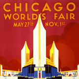 """Chicago World's Fair"" Vintage Travel Poster, 1933 Prints by  Piddix"