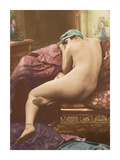 Classic Vintage French Nude - Hand-Colored Tinted Art Premium Giclee Print by  SIC Photo Studio