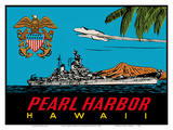 Pearl Harbor Hawaii - U.S. Navy Destroyer Battleship Poster by  Lindgren Brothers