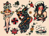 US Navy and Sailor Tattoos, Authentic Vintage Tatooo Flash by Norman Collins, aka, Sailor Jerry Prints by  Piddix