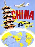 """China the Overland Route"" Vintage Travel Poster Planscher av  Piddix"