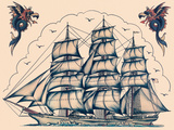 Three Masted Ship & Sea Dragons, Vintage Tattoo Flash by Norman Collins, aka, Sailor Jerry Art by  Piddix