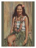 Hawaiian Hula Girl Prints by  Pacifica Island Art