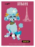 Europe - Paris - Qantas Empire Airways - Blue Poodle Prints by Harry Rogers