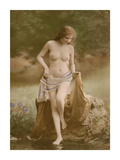 Classic Vintage French Nude - Hand-Colored Tinted Art Premium Giclee Print by  NPG Studio