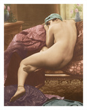 Classic Vintage French Nude - Hand-Colored Tinted Art Giclee Print by  SIC Photo Studio