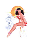 """They Grow Big Coconuts Down Here"" 1950s Pin-Up Calendar Girl by T. N. Thompson Prints by  Piddix"