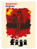 Fiji - American Airlines - Fijian Fire Dancers Prints by  Pacifica Island Art