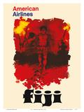 Fiji - American Airlines - Fijian Fire Dancers Print by  Pacifica Island Art