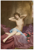 Classic Vintage French Nude - Hand-Colored Tinted Art Art by  NPG - Neue Photographische Gesellschaft