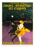 Celebrations of the International Student Congress - Bordeaux, France - September 1907 Posters by Leonetto Cappiello