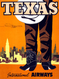 """Texas"" Vintage Travel Poster, International Airways Posters by  Piddix"