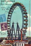 Ferris Wheel in Paris, Vintage Postcard Collage Posters by  Piddix