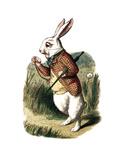 """I'm Late"" Alice in Wonderland White Rabbit by John Tenniel Premium Giclee Print by  Piddix"