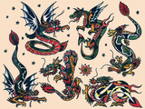 Asian Dragons, Authentic Vintage Tatooo Flash by Norman Collins, aka, Sailor Jerry Print by  Piddix