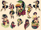 """Hawaiian Ladies"" Vintage Sailor Tatooo Flash Posters by  Piddix"
