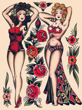 Two Beautiful Women, Authentic Vintage Tatooo Flash by Norman Collins, aka, Sailor Jerry Premium Giclee Print by  Piddix
