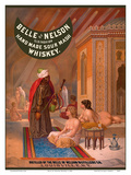 Belle of Nelson Whiskey - Old Fashion Hand Made Sour Mash - Nude Women in Turkish Harem Prints by  Pacifica Island Art