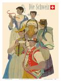 Switzerland (Die Schweiz) - Traditional Swiss Folkloric Costumes Posters by Kurt Wirth