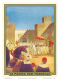 Le Maroc Par Marseille (Morocco by Marseille) - The Sultan Going to the Mosque of Fez Print by Maurice Romberg