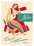 Royal Hawaiian Hotel - Mermaid with Sun Tan Oil Poster by  Pacifica Island Art