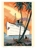 S.S. City of Honolulu - Boat Day Hawaii - Los Angeles Steamship Company Print by  Pacifica Island Art