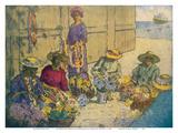 Lei Women on Honolulu's Waterfront - Lei Day Hawaii Kunst af Charles W. Bartlett