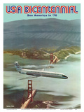 USA Bicentennial - Golden Gate Bridge - See America in '76 - McDonnell Douglas DC-9 Art by Robert Grant Smith