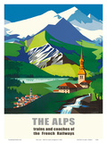 The Alps - Trains and Buses of French Railways - SNCF (French National Railway) Posters by Jean Jacquelin
