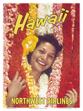 Hawaii - Northwest Airlines - Flower Leis Poster by  Pacifica Island Art