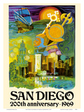 San Diego California - 200th Anniversary 1969 Posters by France Carpentier