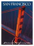 San Francisco - Piedmont Airlines - Golden Gate Bridge Posters by  Pacifica Island Art