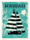 Hawaii - Sailboat Sunset Prints by  Pacifica Island Art