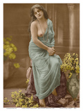 Classic Vintage French Nude - Hand-Colored Tinted Art Poster by  Pacifica Island Art