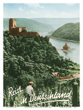 Travels in Germany (Deutschland) - Fürstenberg Castle Ruins - Rhine River Posters by F. Kratz