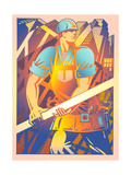 Construction Worker Carrying Beam Posters by David Chestnutt