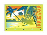 Palm Trees by Beach in Tahiti Posters by David Chestnutt