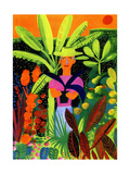 Gardener Holding Potted Plant in Tropical Garden Print by Chris Corr