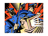 Policemen Confiscating Computer Prints by David Chestnutt