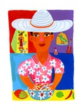 Portrait of Man in Sombrero with Food Posters by Chris Corr