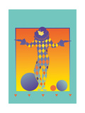 Pierrot Standing Between Balls Prints by David Chestnutt