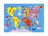 Illustrated World Map of People Enjoying Having Fun Print van Chris Corr