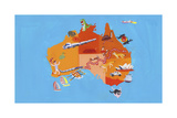 Illustrated Tourism Map of Australia and Tasmania Prints by Chris Corr