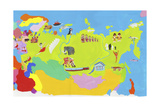 Illustrated Map of Russia, Estonia, Latvia, Lithuania, Belarus, Ukraine and Moldova Posters by Chris Corr