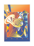 Musician Playing on French Horn Prints by David Chestnutt