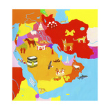 Illustrated Map of the Middle East Posters van Chris Corr