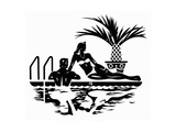 Elegant Couple Relaxing by Swimming Pool Prints by David Chestnutt