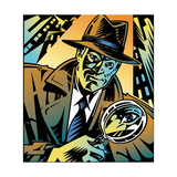 Retro Detective Looking Through Magnifying Glass in City Poster by David Chestnutt