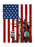 Statue of Liberty in American Flag Jail Prints by Derek Bacon
